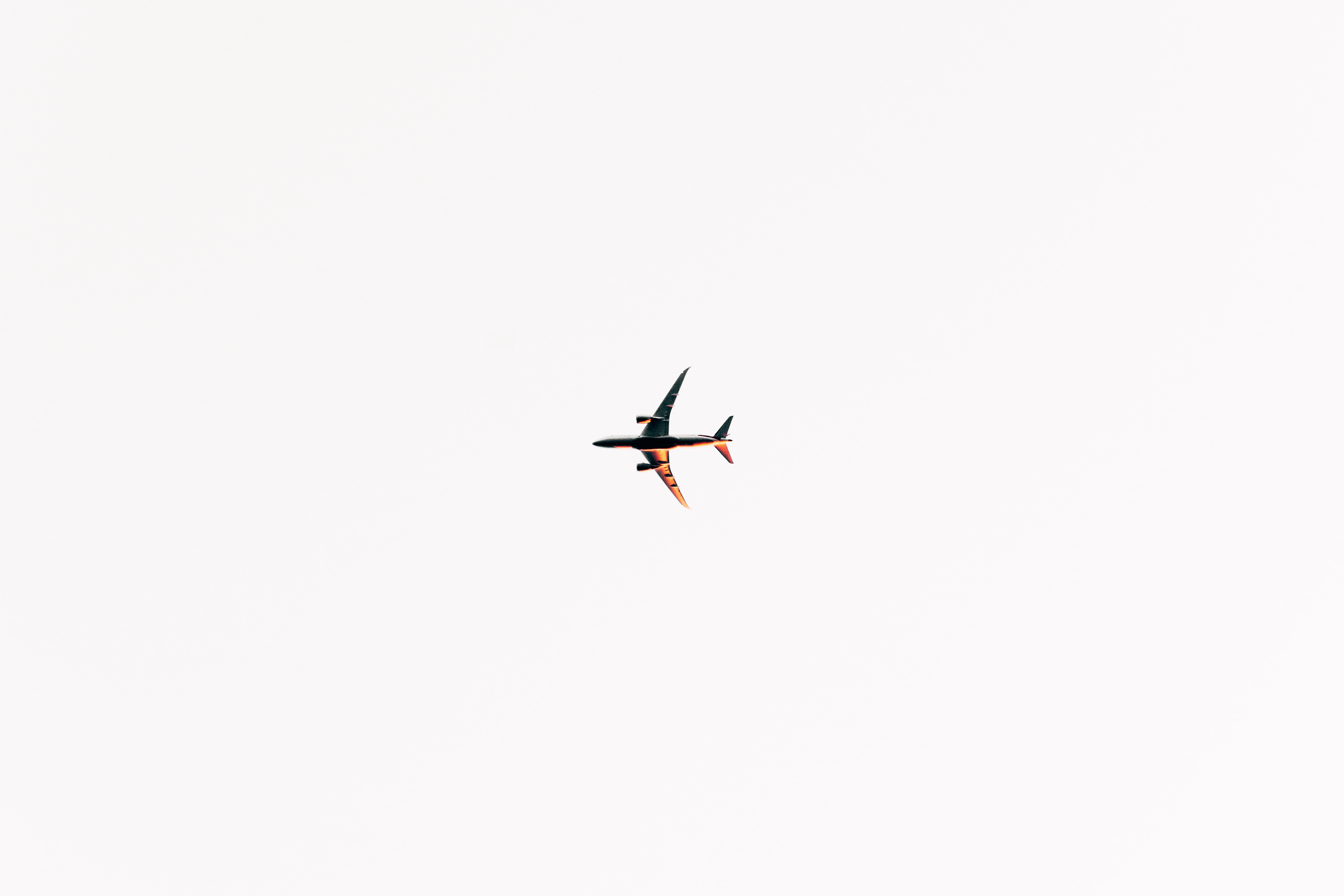 black and gray airplane on sky
