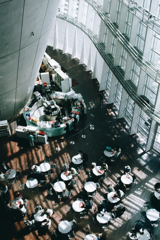 people eating inside building
