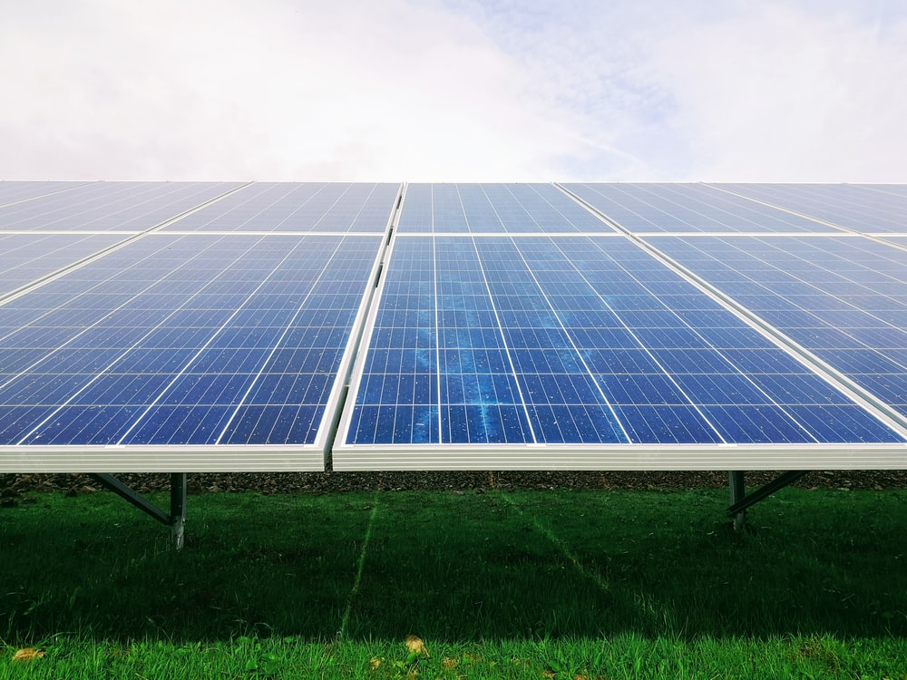 white and blue solar panel system