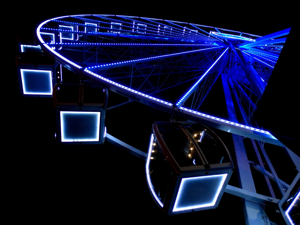 Ferris wheel with LED lights at nighttime