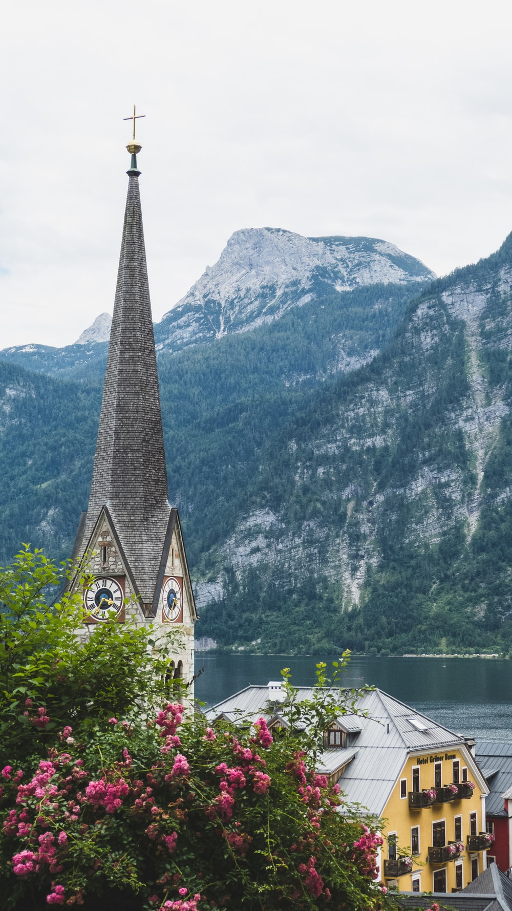cathedral with mountain at distance