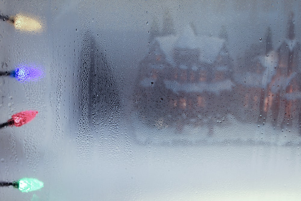 blurry photography of snow covered house