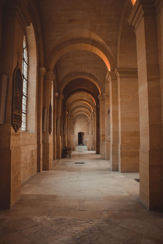 empty beige concrete hallway