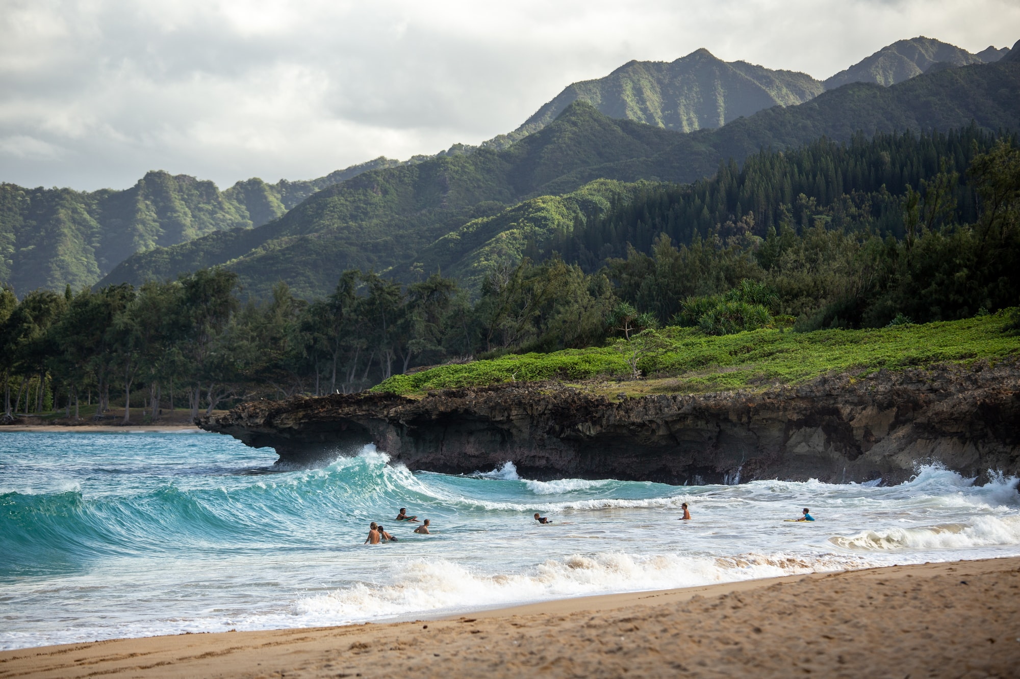 Road tripping around Oahu, the smaller northern beaches are great to catch some sun and watch local surfers