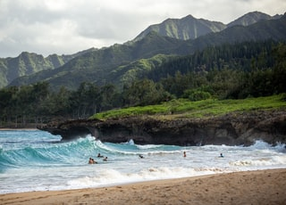 people swimming near shore with waves during daytime