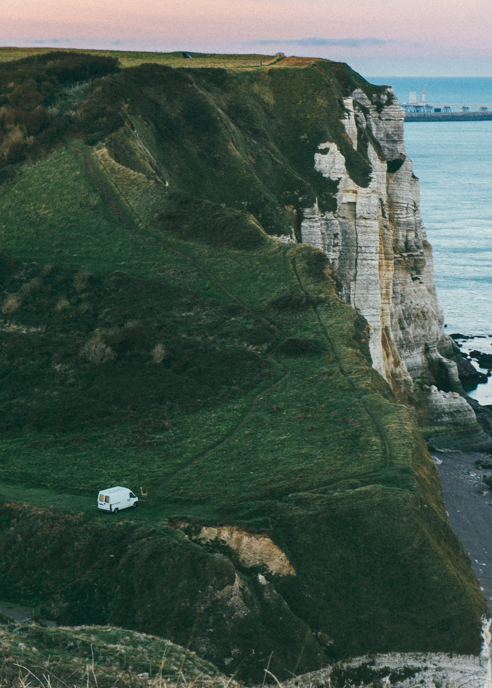 white van on mountain