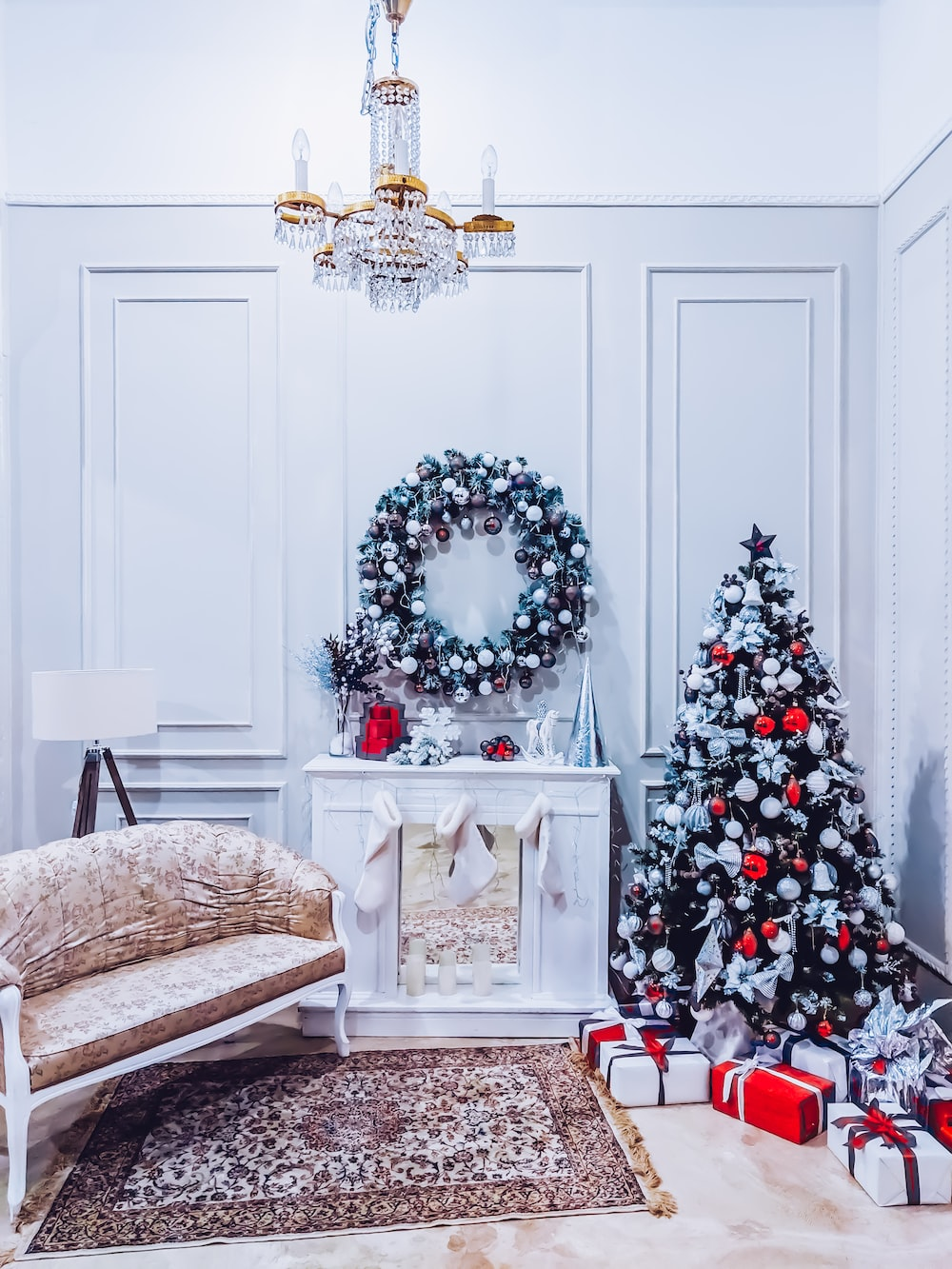 green Christmas and wreath decors
