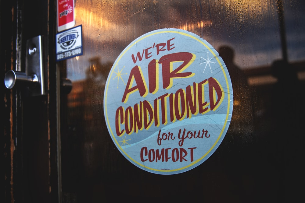 we're air conditioned for your comfort sticker