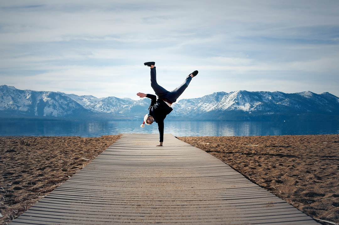 nevada beach lake tahoe one handed hand stand dec 2018