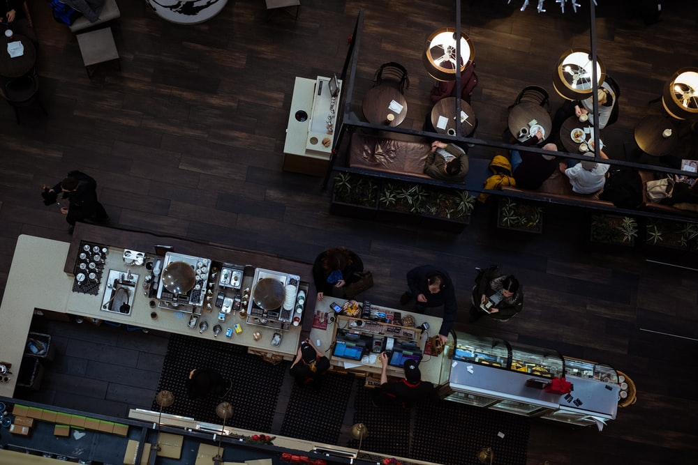 top-view photography of people inside restaurant