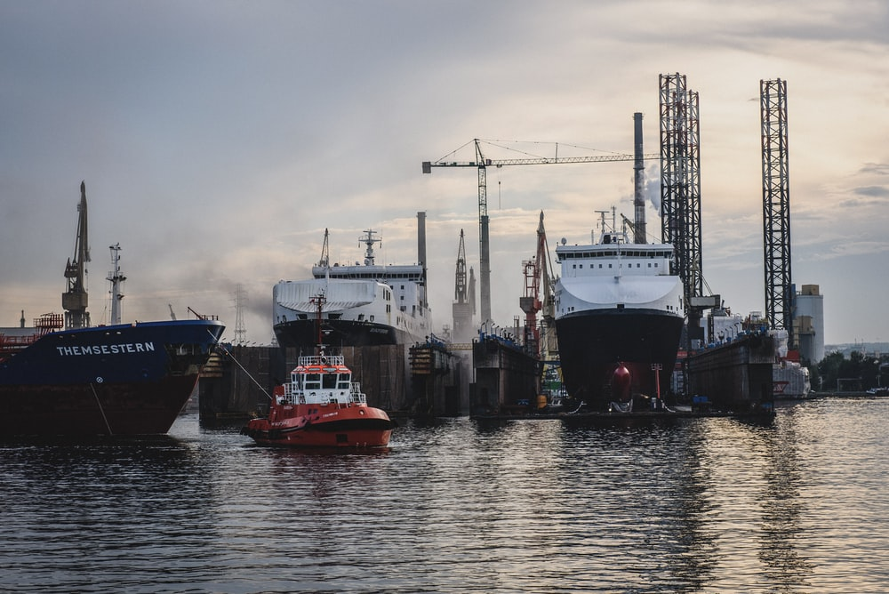 boats moored in dock