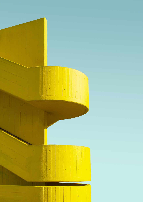 yellow building parking ramp