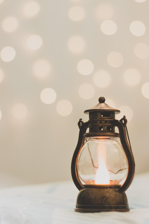bokeh photography of lamp