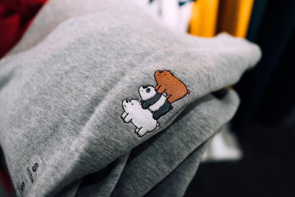 gray We Bare Bears printed textile