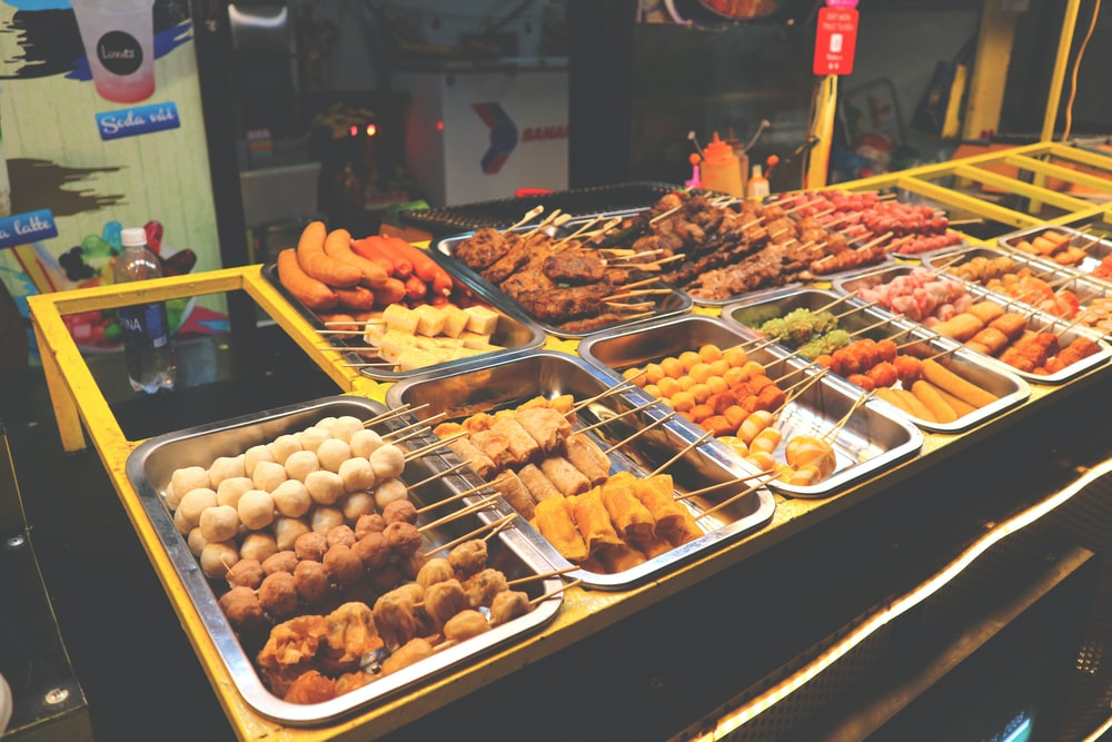 assorted foods on tray display