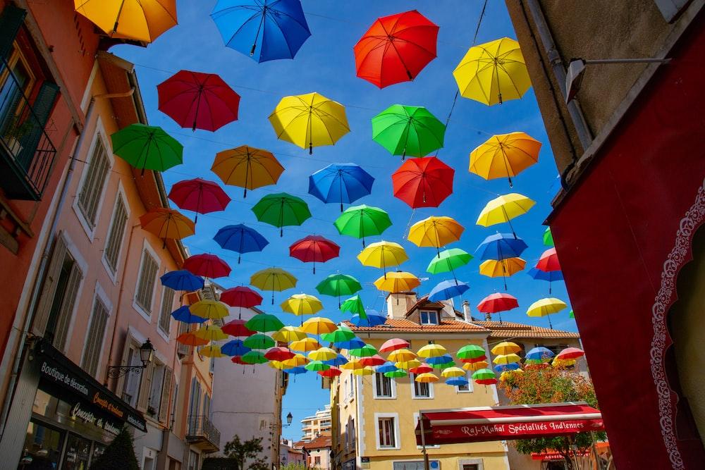 hanging umbrellas during daytime