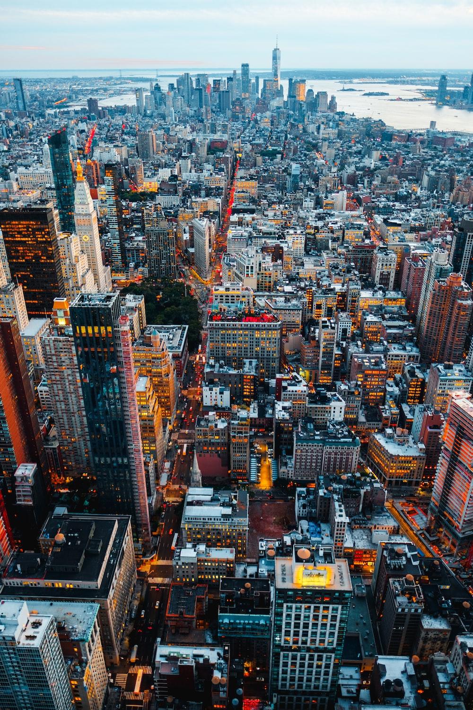 birds eye view of city buildings