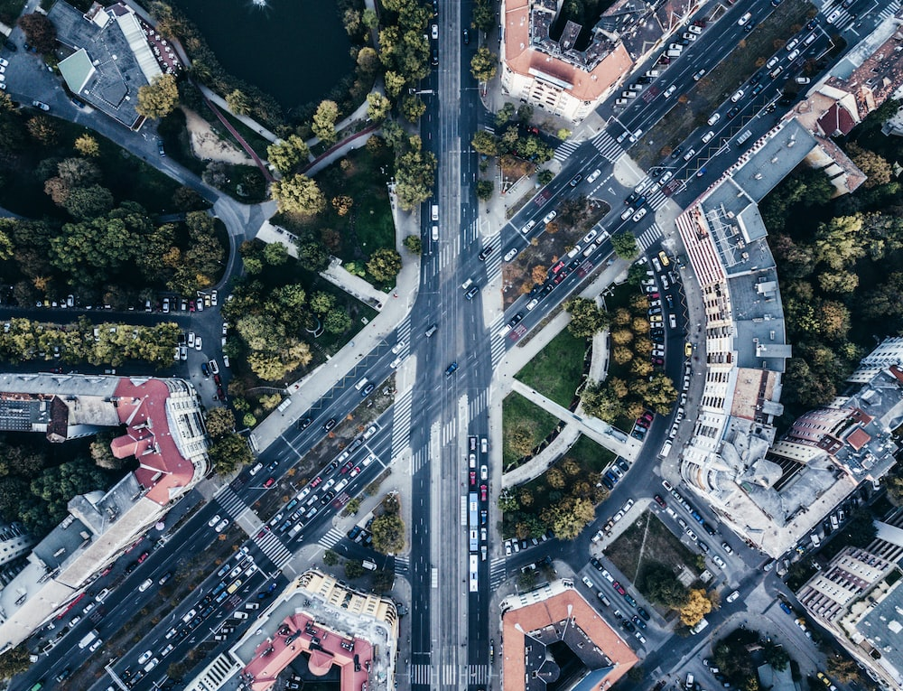 aerial photography of highways and buildings