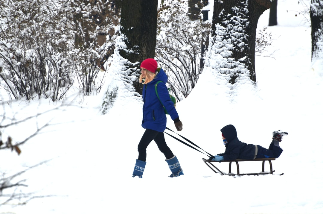 Mom with child on the sleigh in the park, winter