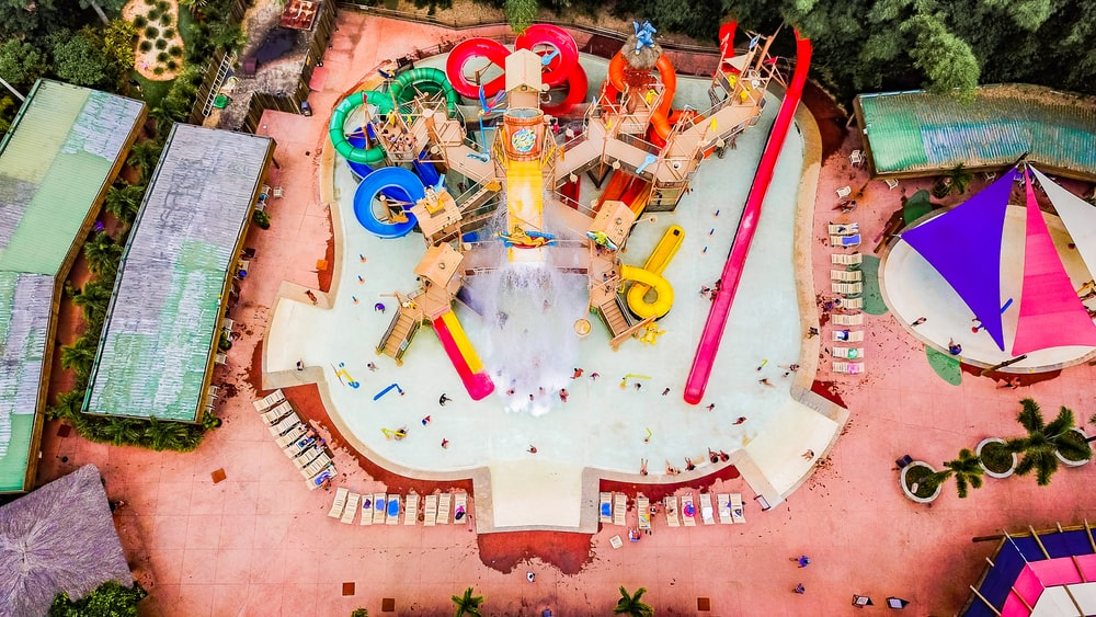 aerial photo of swimming pool with slides