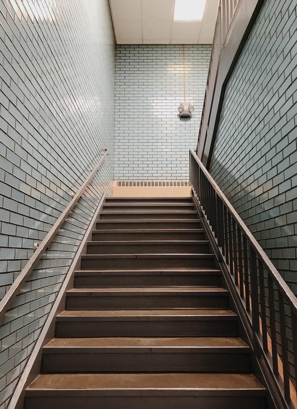 brown steel stair handrail
