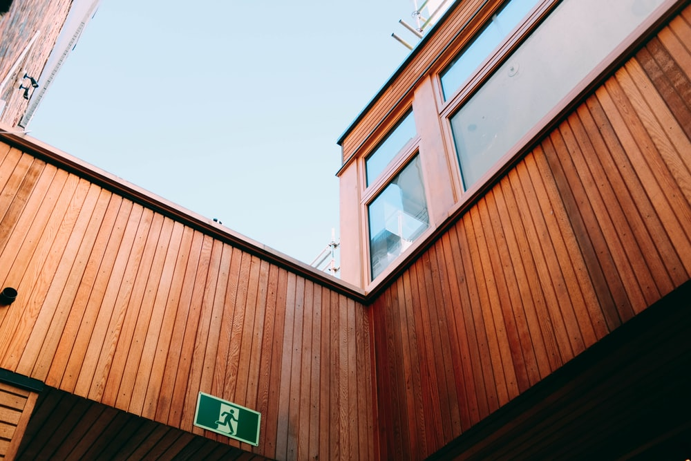 high-angle photography of brown wooden building