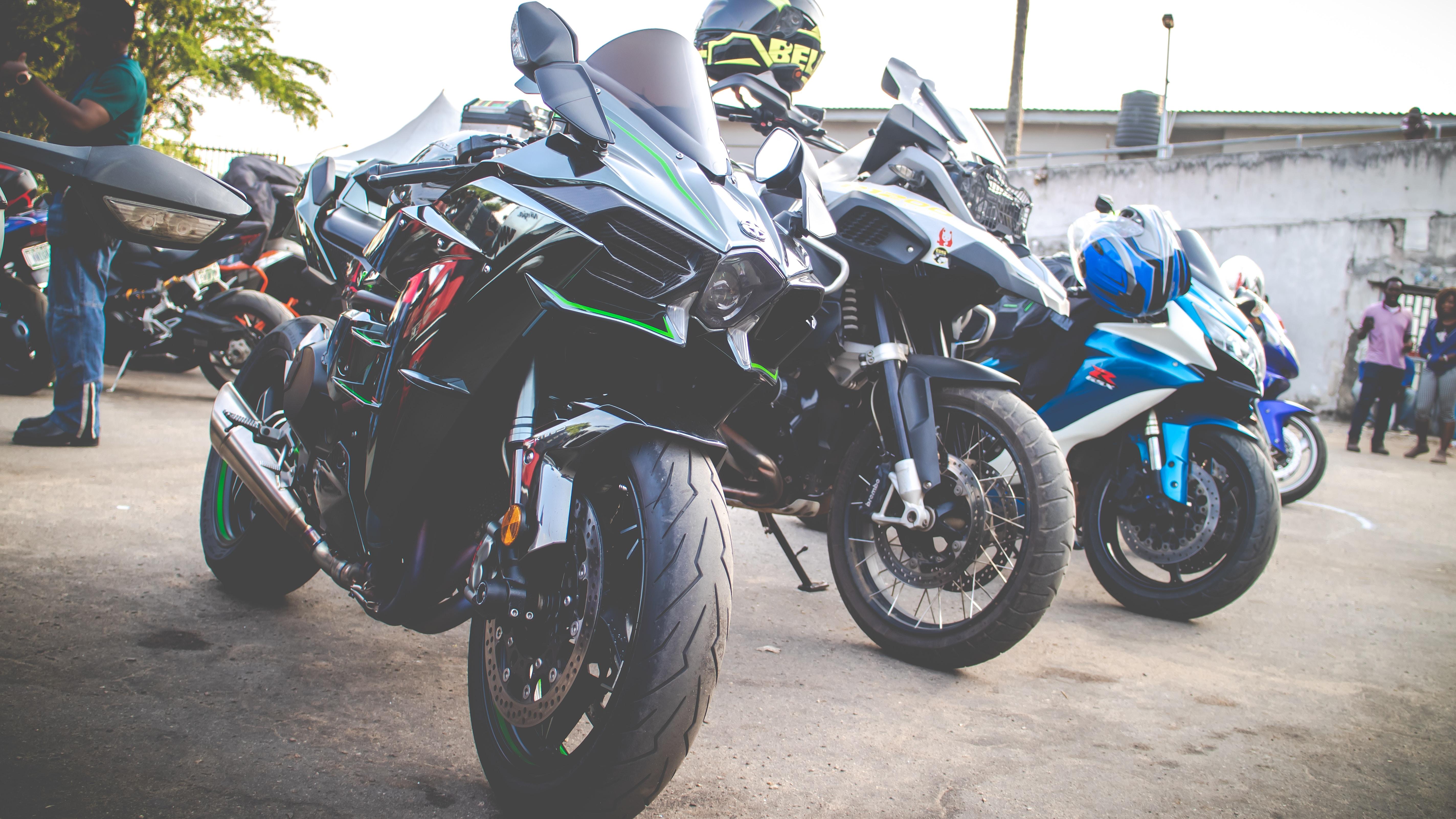 several sport bikes
