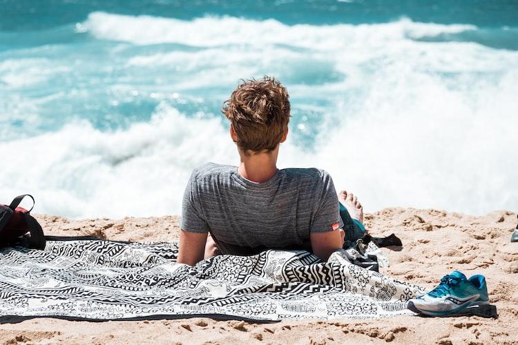 picnic blanket on beach
