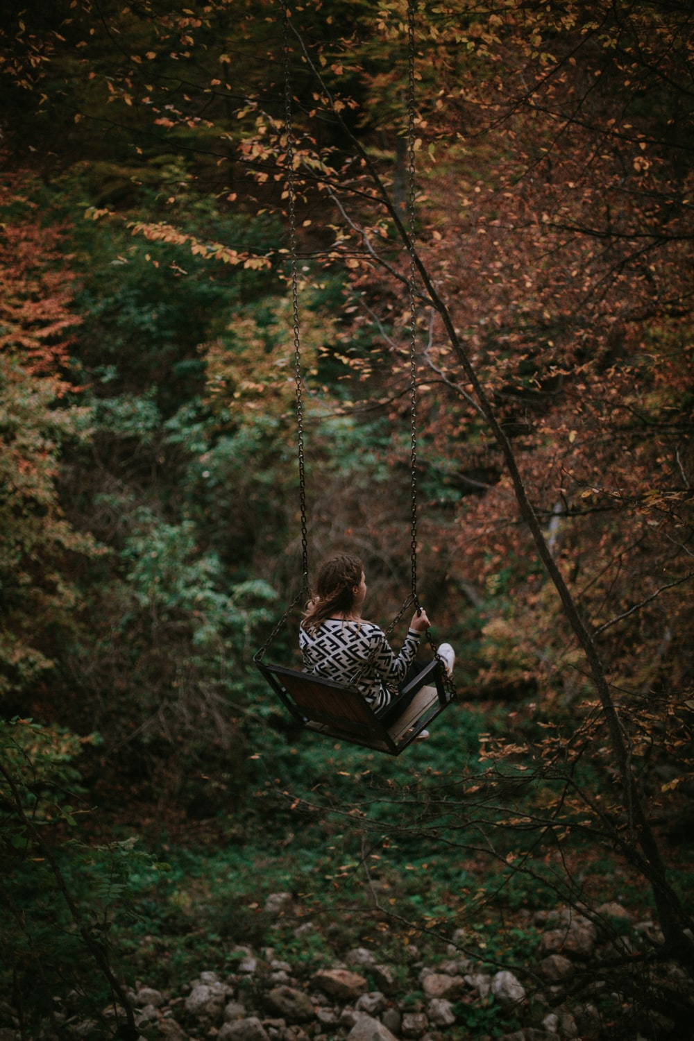 girl on swing surrounded by trees