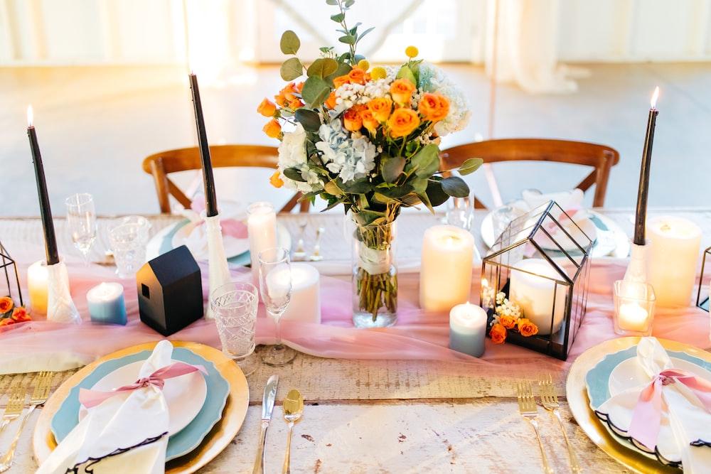flower bouquet in vase near table tba