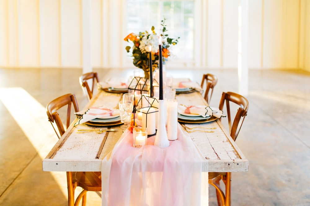 rectangular brown table