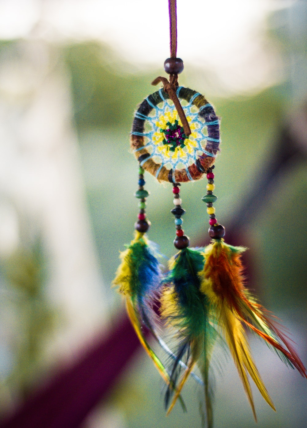 multicolored feather dreamcatcher