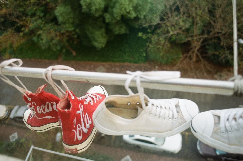 hanged two pairs of sneakers