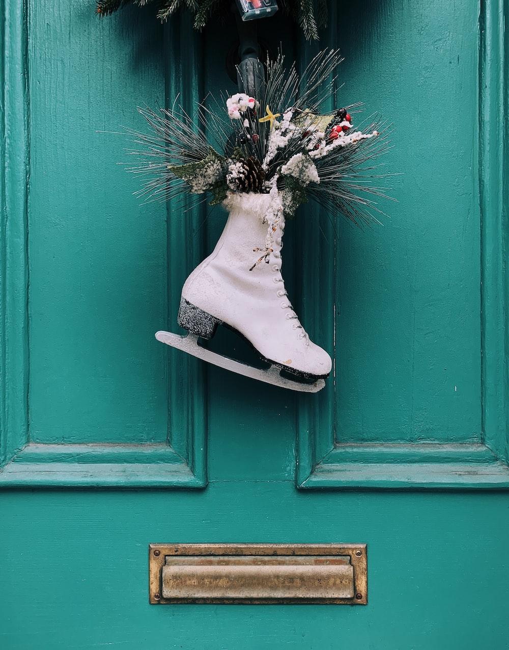 white figure skate wreath