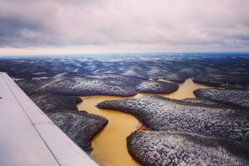 airplane wing view of forest and river