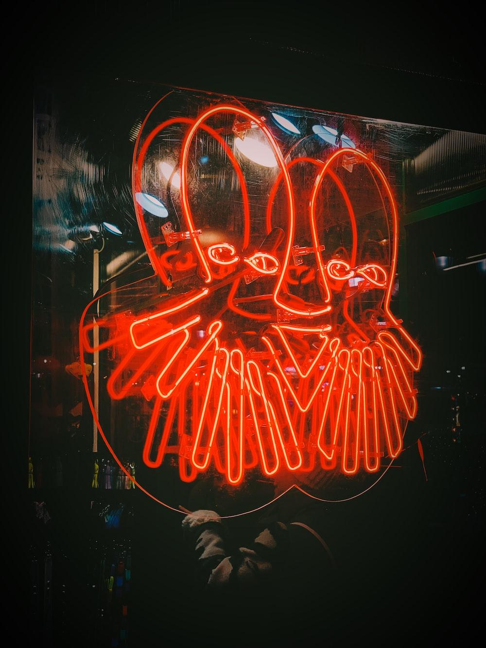 octopus neon signage turned on