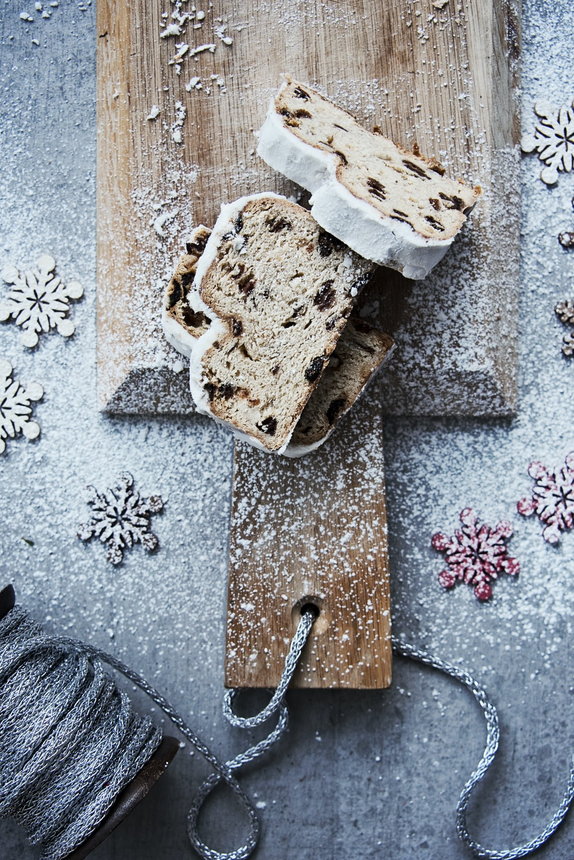 baked bread on chopping board
