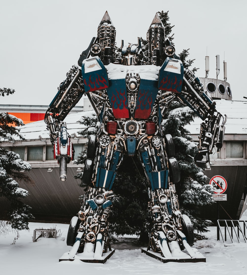 blue and red robot outdoor decor
