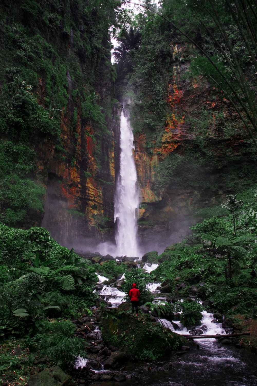 person standing in front of waterfalls