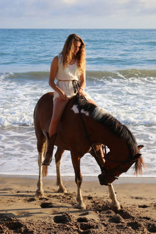 woman riding on brown horse near seashore