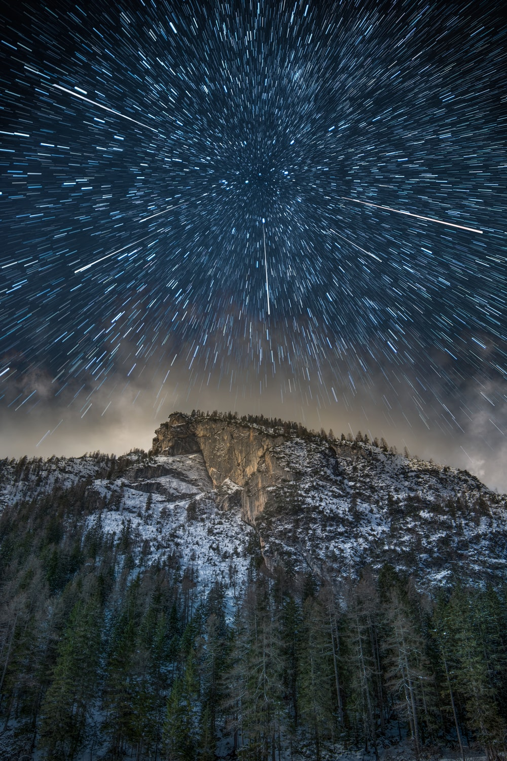 time-lapse photograph of mountain ranges