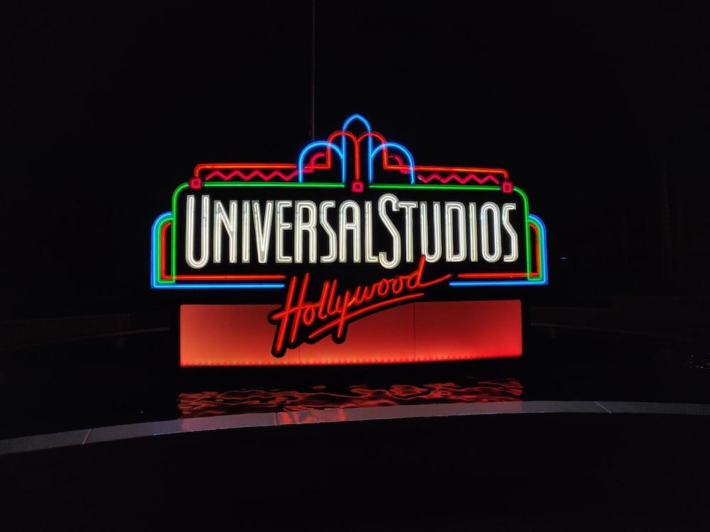 lighted Universal Studios Hollywood neon light signage