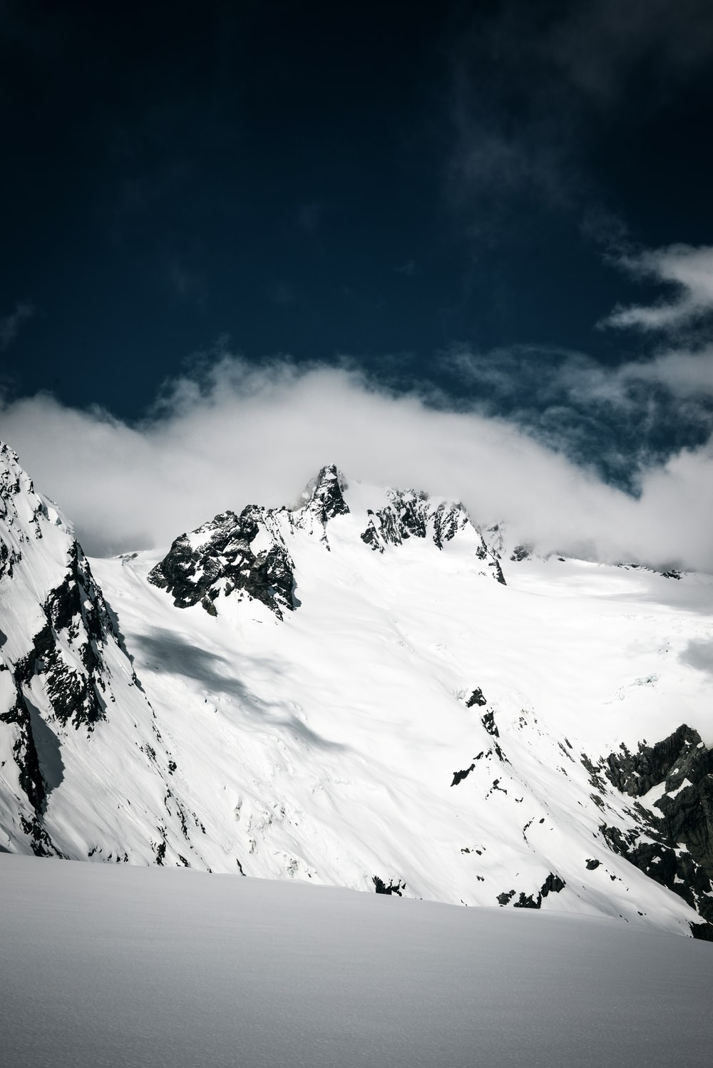 ice-capped mountain at daytime