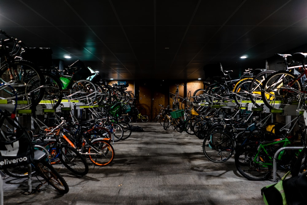 assorted-color bicycles