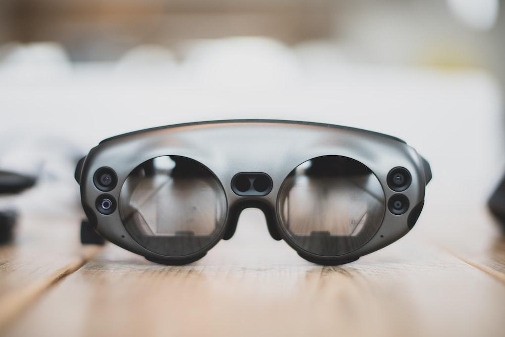 black glasses on floor