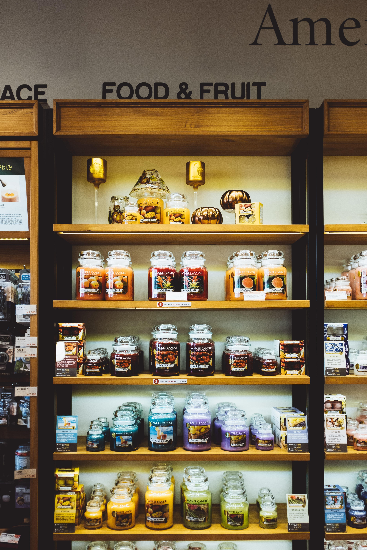 jars on wooden shelf
