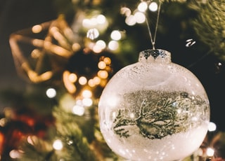 white clear glass Christmas bauble