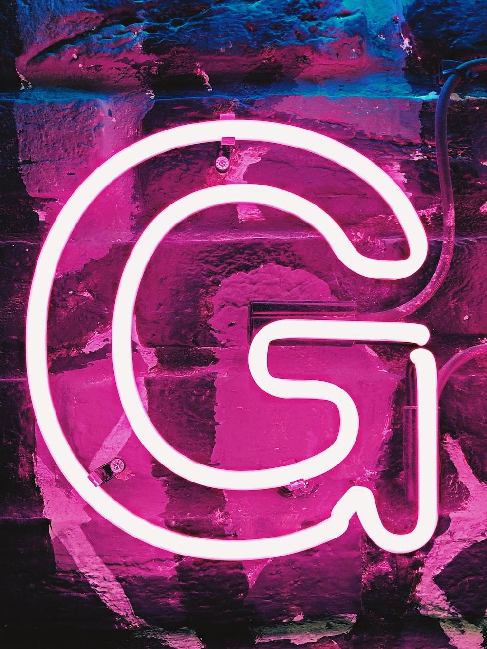 white G neon sign
