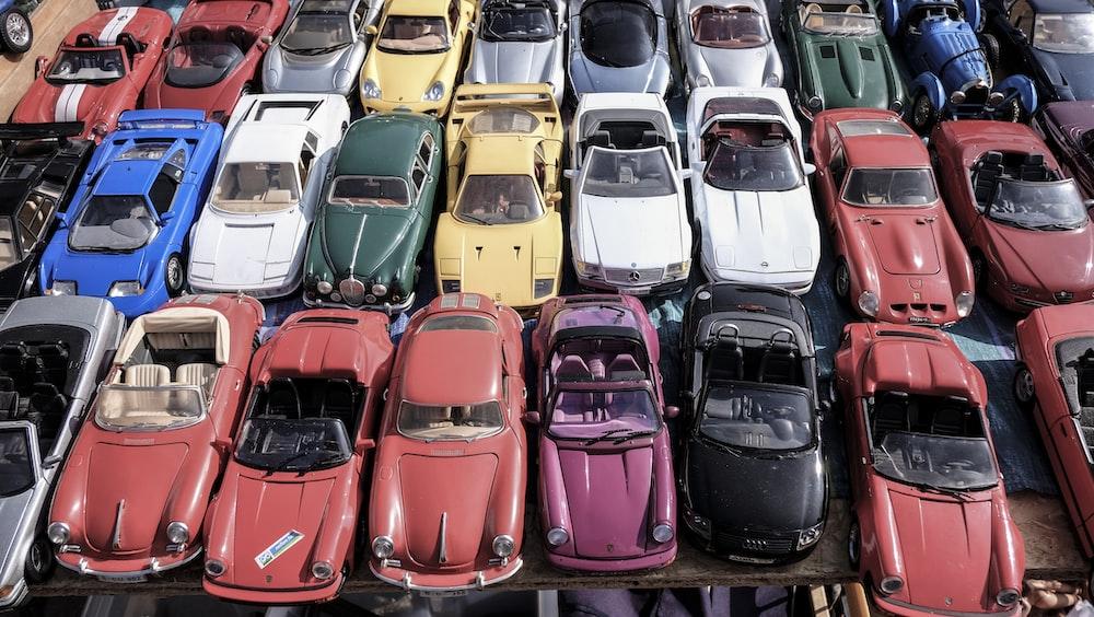 assorted-color car lot