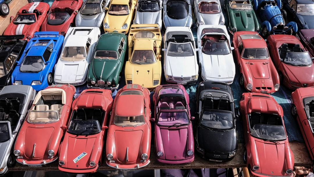 A display of colourful toy model cars